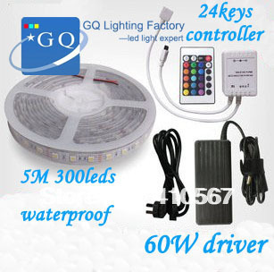 Factory saleFlexible RGB LED Light Strip 5050 SMD 5m 300 LEDs 60leds/Meter WATERPROOF + 24 Key IR REMOTE Controller+60w driver 60w 3600lm 300 smd 5050 led rgb car decoration soft light strip w controller 12v 5m