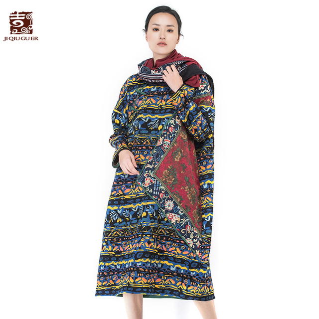 f93be82414 Jiqiuguer Women floral Print Patchwork Autumn Dresses O-neck full sleeve  blue Loose Long Casual