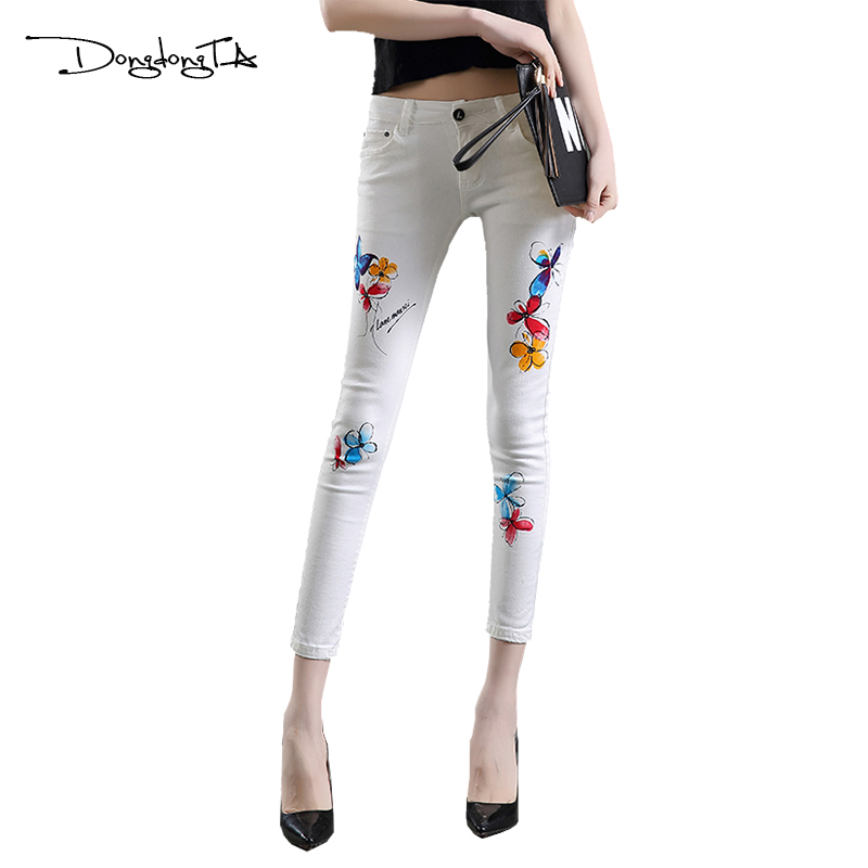 Dongdongta Skinny Diseño Vaqueros Pantalones Nuevo longitud Tobillo Verano 2017 Niñas Original Blanco Mujeres Moda Jóvenes White Lápiz rR1fqrO8