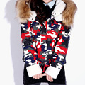 2015 Women's Army Green Camouflage Winter Cotton Jackets Coats Flocking Thick Camo Outerwear Women Fur Collar Hooded Coat XXXL