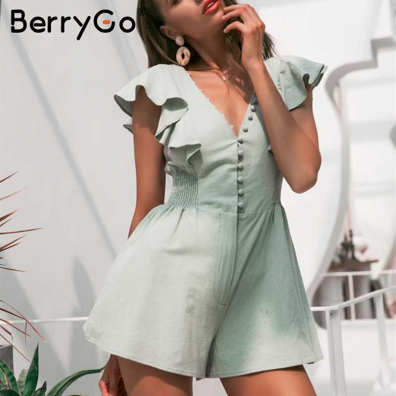 BerryGo ruched льняной комбинезон женские комбинезоны летние пуговицы рюшами короткий комбинезон элегантный v-образный вырез Повседневный сексуальный спортивный костюм комбинезон