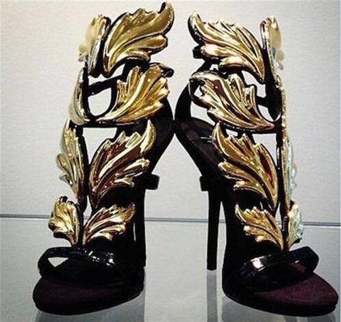 Гарячі розпродажі золота квіткові листя лакованої шкіри жіночі сандалі Peep Toe високих підборах вирізані сандалі гладіатор взуття Туфлі на вечірку
