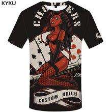 KYKU Card T Shirt Men Black Beauty T-shirt Funny Hip Hop Tee Gothic 3d Printed Tshirt Streetwear Punk Rock Mens Clothing Tops