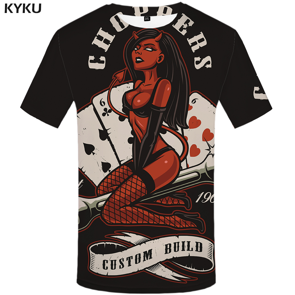 KYKU Card   T     Shirt   Men Black Beauty   T  -  shirt   Funny Hip Hop Tee Gothic 3d Printed Tshirt Streetwear Punk Rock Mens Clothing Tops