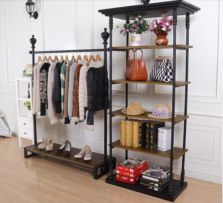Iron Clothing Store Display Rack With Wood Floor Bag Clothes In Living Room Sets From Furniture On Aliexpress