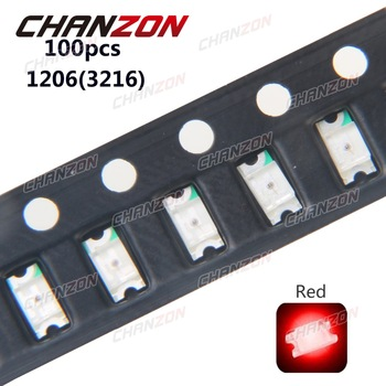 100pcs SMD 1206 (3216) Red Ultra Bright Chip Bulb Surface Mount SMT Beads LED Light Emitting Diode Lamp Electronics Components