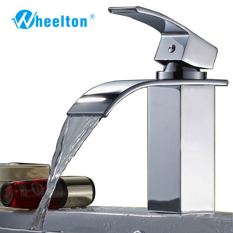 Bathroom Waterfall Faucet Basin Faucet Single Hole Brass Faucet Vanity Vessel Sinks Mixer Cold And Hot Water Tap Deck Mount