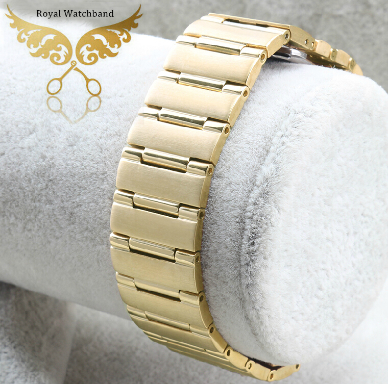 22mm 14mm Gold New High Quality Polished Stainless Steel Watch Band Strap Bracelet Depolyment Stainless Steel