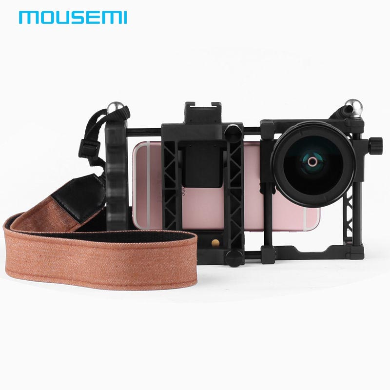 2in1 Wide Angle Macro Lens 37mm Mount With Belt Phone Case Ergonomic Handle To Shoot Film For iPhone 7 6 5s Camera Mobile Phone