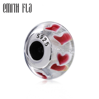 Emith Fla Authentic 925 Sterling Silver Red Heart Murano Glass Beads Fit Original European Charm Bracelet
