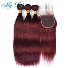 My Like Brazilian Hair Weave Straight Bundles with Closure 99J Red Burgundy 3Pcs Human Non-remy
