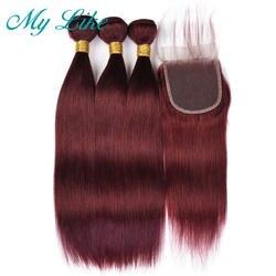 My Like Pre-colored бразильские прямые волосы 3 Связки с закрытием 99J красные бордовые натуральные волосы Связки с закрытием не Реми