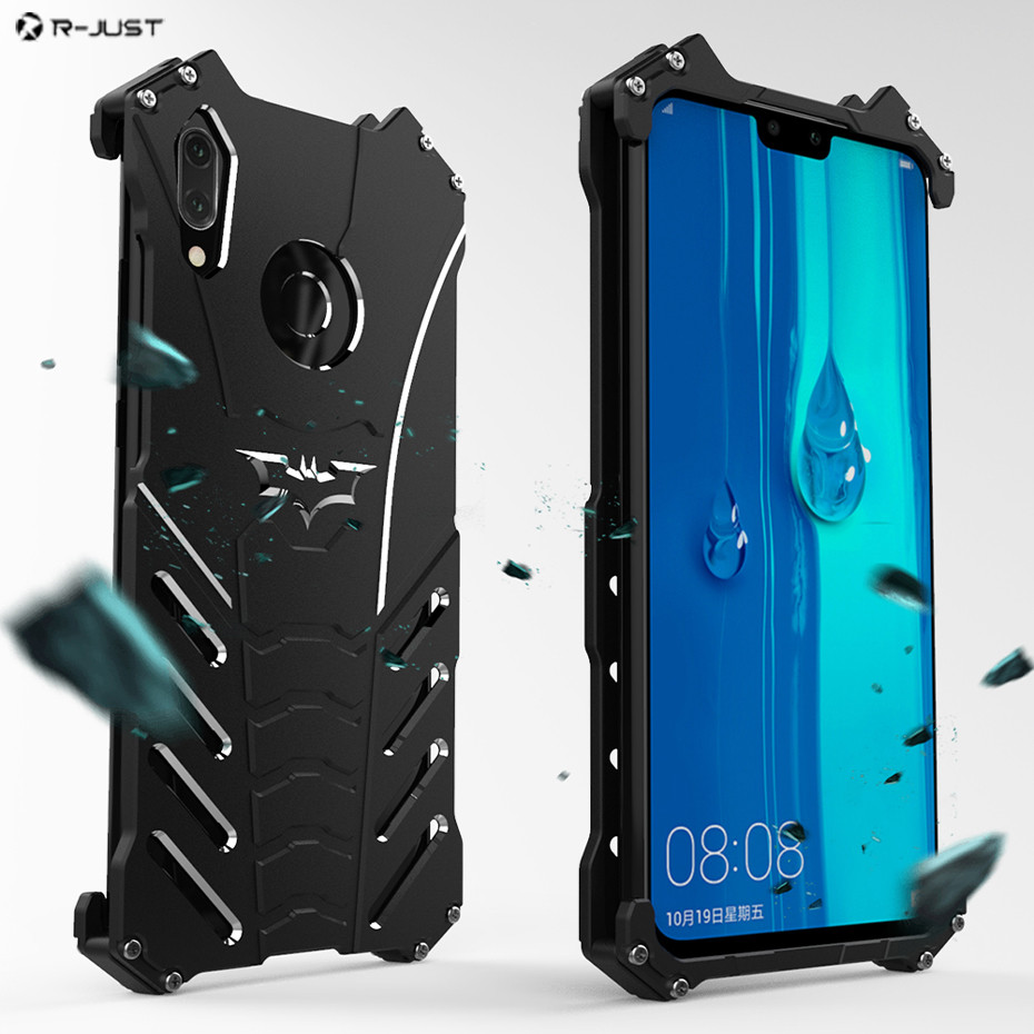 R-JUST For Huawei Y9 2019 Metal Bumper Case For Huawei Enjoy 9 Plus Heavy Duty Armor Cover Shockproof Dropproof Coque Funda