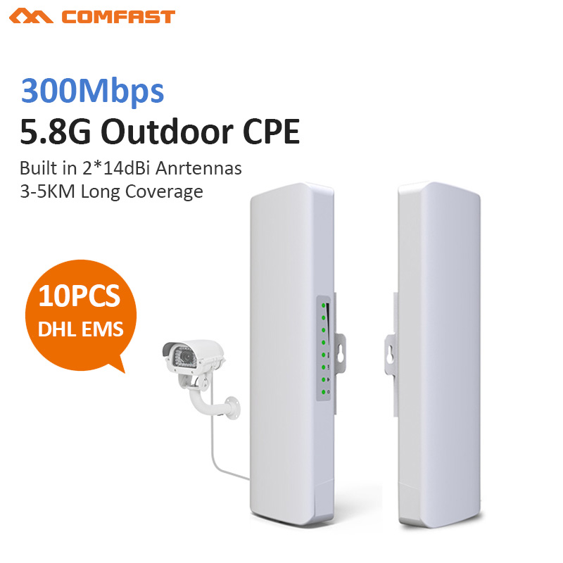 10pcs Comfast 5.8GHz 300Mbps 5KM Outdoor CPE Wireless WiFi Repeater Router Extender AP Access Point WiFi Bridge 48v POE Adapter lafalink pw300s48c 300mbps 2 4g wireless inwall poe access point 48v wifi extender