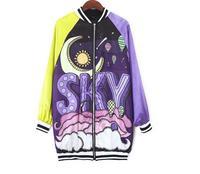 New Streetwear Womens Jacket Coat Bat Sleeve Funny Fantasy Sky Printed Harajuku BF Jacket Outerwear Coats Hip Hop Dance Clothes