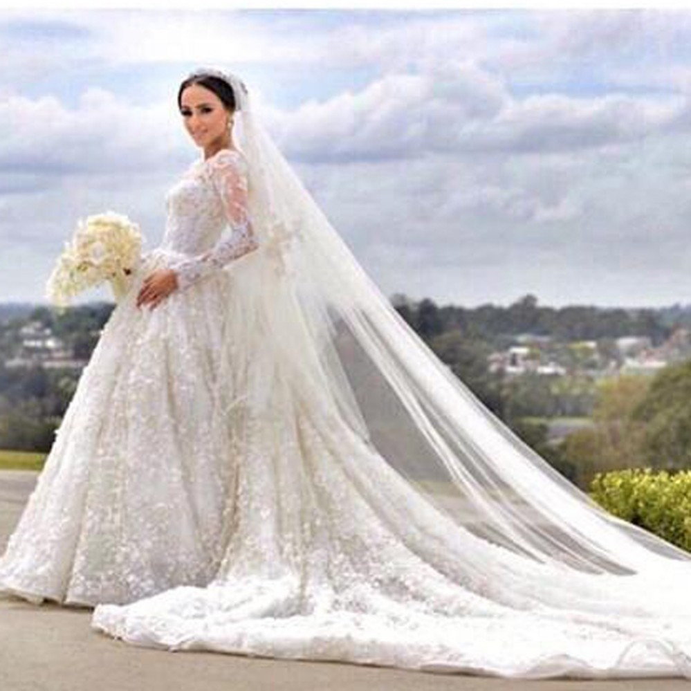 Arrival Lace Long Sleeve Muslim Wedding Dresses 2016 Fashion Scoop Neck Beaded Ball Gown Detachable Court Train In From