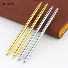 Mont Boligrafos Slim Light Gold And Silver Color Rotating Ballpoint Pen Slender Commercial Metal Oily Gift