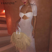Fantoye Sexy See Through Chiffon Long Dress Women Casual White Short Sleeve Beach Wear Covers Sheer Bodycon Dress Maxi Vestidos(China)