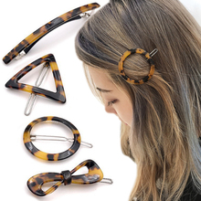 Retro Leopard Geometric Hair Clips Traingle Round Bow Shape Amber Unique Translucent Hair Accessories Styling Tool garda decor стол geometric amber