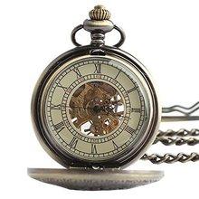 Classic Steampunk Roman Dial Mechanical Skeleton Bronze Men Women Windup Pocket Watch Full Hunter Totem Design with Chain