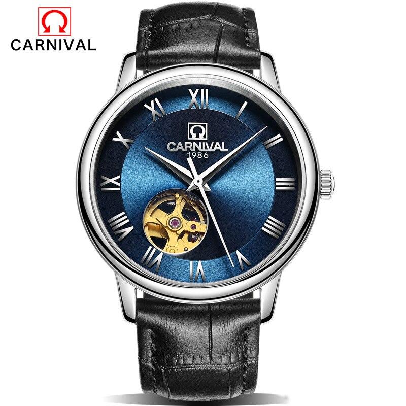 80aa6997f6f2 2016 carnaval reloj mecánico esquelético de los hombres reloj relojes de  cuero Relogio masculino lujo moda reloj de pulsera
