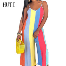 HUTI Rompers Sexy Sleeveless Vertical Stripes Wide Leg Playsuits Women New Casual Print Loose Jumpsuits Summer Macacao Feminino