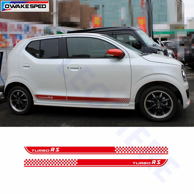 For Suzuki Alto Turbo Rs Graphics Side Skirt Stripes Car Styling