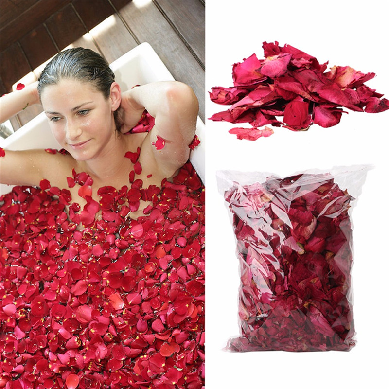 1 Pack Dried Rose Petals Natural Flower Bath Spa Whitening Shower Dry Rose Flower Petal Bathing Relieve Fragrant Body Massager