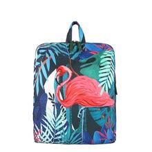 Cute Flamingo Printing Backpack Women School Bag Green Color Canvas Laptop Backpacks Large Capacity 2017