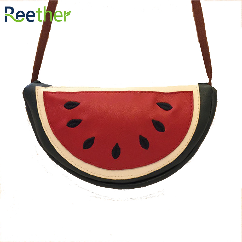 Reether PU Leather Kid Coin Purse Mini Watermelon Childrens Messenger Shoulder Bag Girl Cute Charge Wallet Pouch w/ Zipper