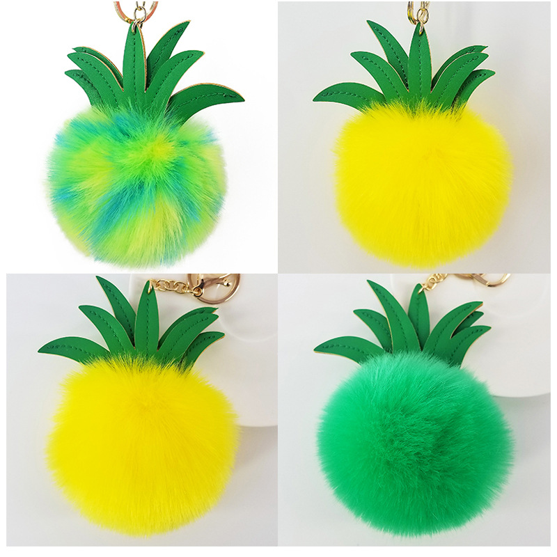 New PU leather fruit pineapple shape fur ball keychain Artificial imitation rabbit fox fur bag accessories