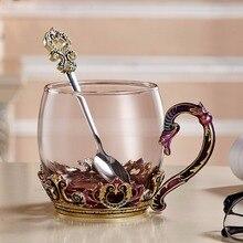 Enamels Tea Mug Drinking Coffee Cup Glasses European  with spoon 11oz/320mL