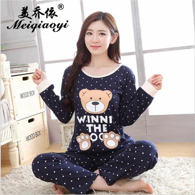 addbeaca0f Women's Autumn Cotton sleepwear long sleeve trousers Round Neck pajamas  sets Character(Winnie)printing Leisure home clothes