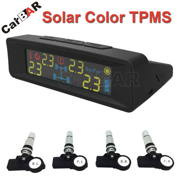 Solar Colorfull  Screen Display TPMS with Internal Sensor Support  High Low Pressure Temperature Fast Leakage Alarm CARBAR