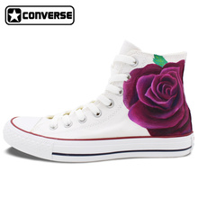 Women Men Converse All Star Purple Floral Flower Design Custom Hand Painted High Top Canvas Sneakers Girls Boys Unique Gifts