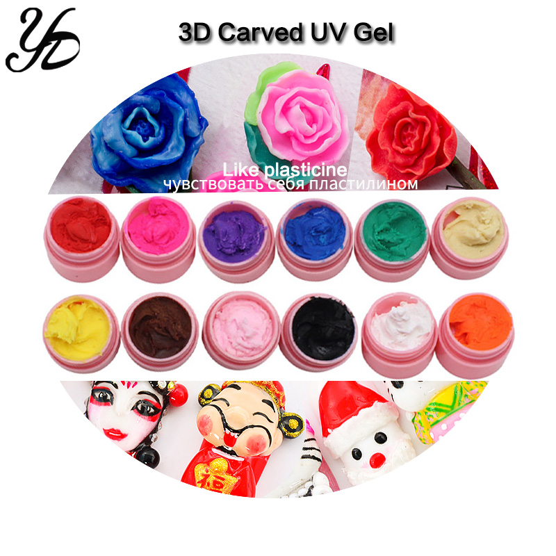 Yiday Multi 12 Colors Soak Off 3D Carved Patterns UV Gel Nail Art Modelling Sculpture Manicure DIY 4D Painting Embossed LED Gel-in Nail Gel from Beauty & Health