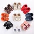 2016 nuevo double flecos cordones de pu de cuero de gamuza botas de bebé del niño mocasines zapatos recién nacidos primeros caminante infantil suave 0-18 m