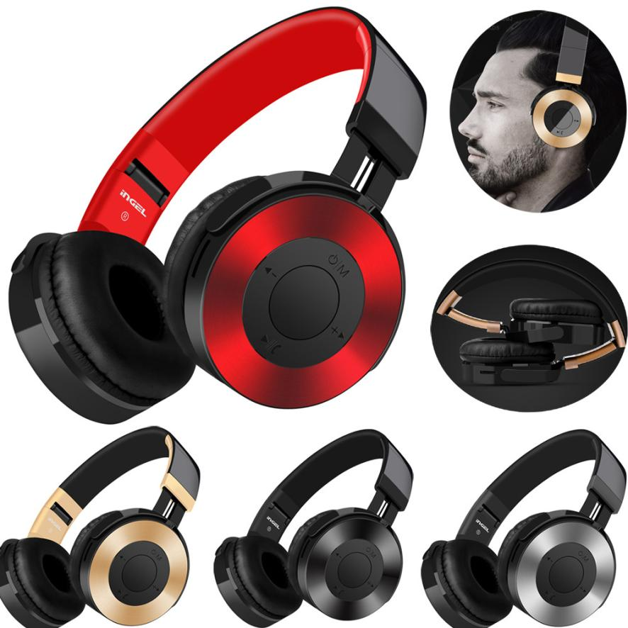 New Bluetooth4.2+EDR Headphones Over Ear Hi-Fi Stereo Wireless Headset With Mic Support SD/TF Card noise cancelling waterproof ks 509 mp3 player stereo headset headphones w tf card slot fm black