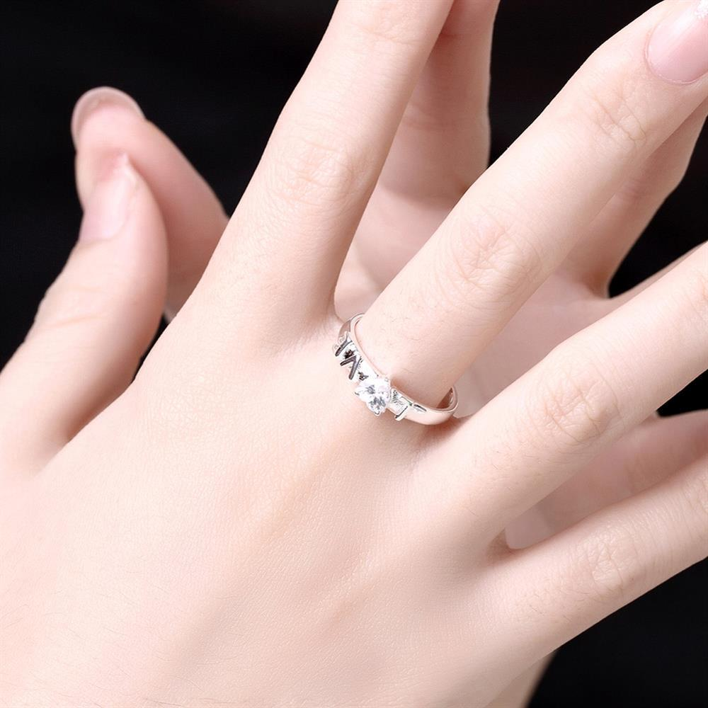 Romantic Silver Color Letter LOVE Eternity Ring Trendy Cubic ...