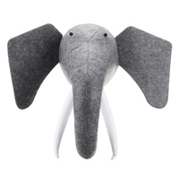 Exquisite 3D Felt Animal Elephant Head Animals Head Toys Kids Bedroom Wall Hangings Decor Artwork Christmas