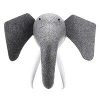 Exquisite 3D Felt Animal Elephant Head Animals Head Toys Kids Bedroom Wall Hangings Decor Artwork Christmas