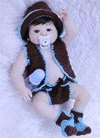 Adorable 55CM Reborn Doll Handmade Full Silicone Bebe Reborn Boy Doll Boneca In Cute Clothes Fashion Baby Dolls For Girls