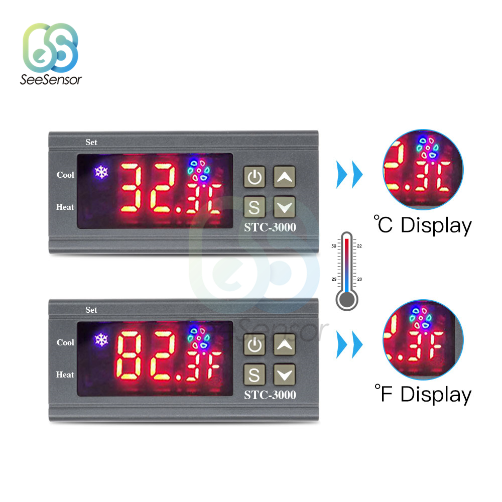 Digital Temperature Controller Thermostat Thermoregulator for Incubator Heating Cooling Fahrenheit/Celsius STC 3000 12V 24V 220V|Temperature Instruments|   - AliExpress
