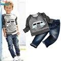 Дети Мальчики С Длинным Рукавом Пуловер Рубашка + Джинсы Брюки 2015 Весна Детская Одежда, случайные Мальчики Комплект Одежды