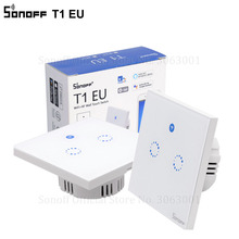 Sonoff T1 EU Smart Wifi Wall Touch Light Switch 1 Gang 2 Gang Touch/WiFi/433 RF/APP Remote Smart Home Controller Work with Alexa
