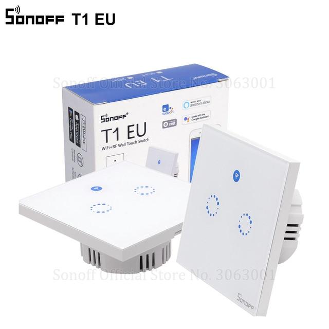 Sonoff T1 ЕС умный Wifi настенный сенсорный выключатель света 1 банда 2 банды сенсорный/WiFi/433 RF/приложение пульт дистанционного управления Умный дом работа с Alexa работать с Алиса