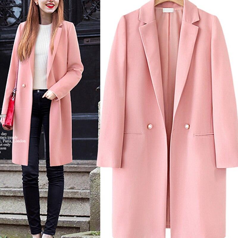 2019 Spring Pink Long Blazer Women Notched Double Breasted Long Sleeve Office Suit Outwear Female Coat Jacket Blazer Feminino