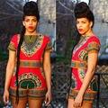 Atractivo de las mujeres Del Verano Arropan los Sistemas 2 unids Tradicional Africano Tops Print Vintage Shorts Pantalones 2 unids Set Mono