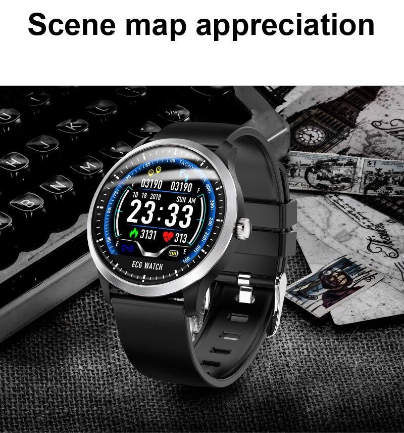 ECG Fitness bracelet intelligent pression artérielle électrocardiogramme fréquence cardiaque Inteligente Reloj sommeil couleur écran Bluetooth pour téléphone