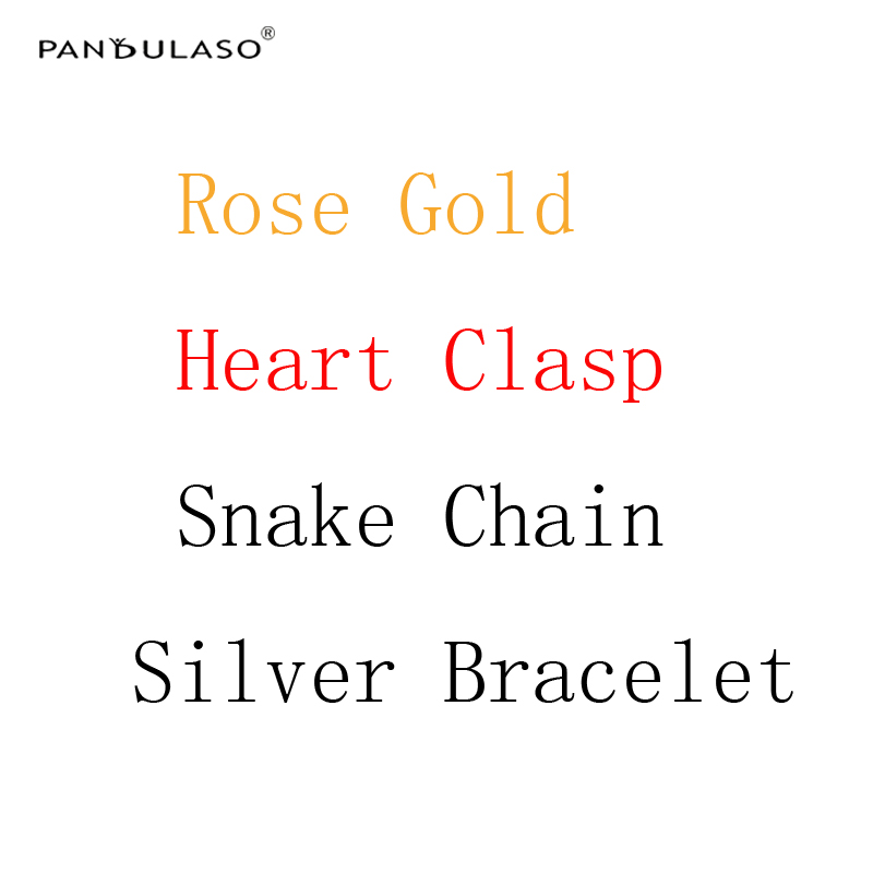 Pandulaso Rose Golden Heart Clasp Snake Chain Silver Bracelets for Women & Men DIY Jewelry Original Silver 925 Charms Bracelet 4 style 925 basic snake chain bracelets round flower love heart pink color buckle bracelets for women diy charms jewelry